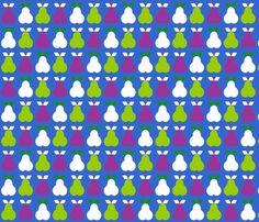 Pear_trio_blue fabric by aliceapple on Spoonflower - custom fabric