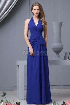 Chiffon Halter Neckline Floor Length Column Bridesmaid Dress with Pleated  Neckline 97377976dbe7