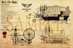 Airship Neverland Blueprints. via Etsy.