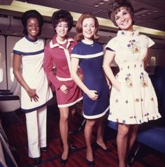 """American Airlines flight attendants model the """"American Field Flowers Collection,"""" by Leonard Fisher, circa 1971-1974. The image goes with the Museum of Flight's second Style in the Aisle exhibit. (American Airlines C.R.Smith Museum) Photo: Museum Of Flight / SL"""