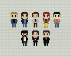 Supernatural Characters Cross Stitch Pattern by GeekyStitches on Etsy Sherlock Cross Stitch, Geek Cross Stitch, Modern Cross Stitch, Cross Stitch Patterns, Crochet Cross, Crochet Chart, Crochet Ideas, Dmc Embroidery Floss, Cross Stitch Embroidery