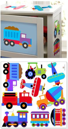 Trains, Planes and Trucks Decal Cut Outs - By Olive Kids