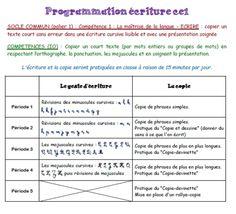 Programmation et Progression Ecriture CE1