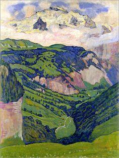 Premium poster Jungfrau mountain, seen from Isenfluh Gustav Klimt, Mountain Landscape, Landscape Art, Landscape Paintings, Figure Painting, Painting & Drawing, Art Nouveau, Ferdinand, Oeuvre D'art