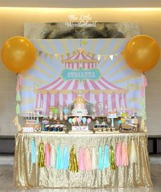 Stunning dessert table at a carnival birthday party! See more party ideas at CatchMyParty.com!