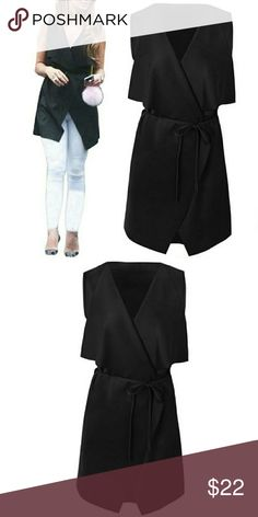 Cape Cardigan • Black Occasion: Casual Material: Acrylic Season: Autumn, Spring Color: Black Pattern: Solid Sweaters Cardigans