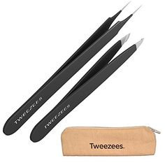 Tweezees Precision Stainless Steel Tweezers - Black Professional Slant Tip & Splinter Tip Tweezer - Extra Sharp Hair Removal Tool - Best Set for Eyebrow Shaping Tweezees