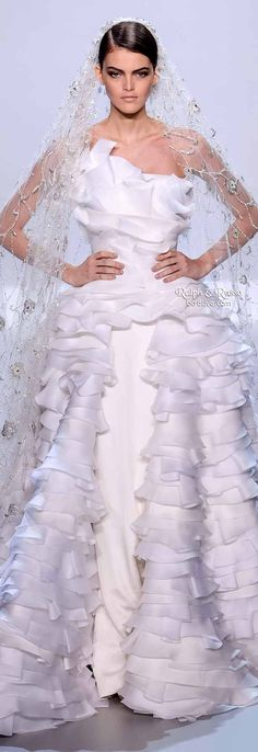 Ralph & Russo Spring 2014 HC | White silk crepe corseted pencil bridal gown with ballgown skirt and hundreds of organza and gazar ruffles