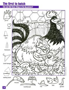 The First to Hatch hidden pictures coloring page Hidden Object Puzzles, Hidden Picture Puzzles, Hidden Objects, Colouring Pages, Coloring Sheets, Coloring Books, English Activities, Activities For Kids, Hidden Pictures Printables
