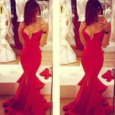 2014 Red Mermaid Satin Evening Dresses Vestidos Inspired by Michael Costello with Sweetheart Tiered Skirt Prom Party Dresses