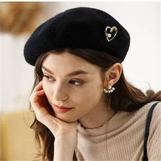 French Beret Hat, Wool Berets, Winter Hats For Women, Hat Making, Winter Wear, Black And Brown, Baseball Hats, Organic Gardening, Lady