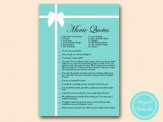 movie-quote-ariel Tiffany Theme Bridal Shower Games Pack