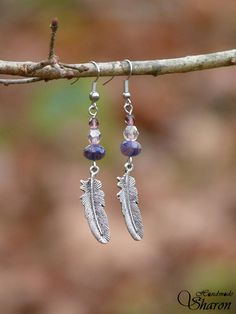 Long purple feather earrings with glass beads Wire Wrapped Earrings, Feather Earrings, Gemstone Earrings, Drop Earrings, Faceted Glass, Glass Beads, Boho Trends, Boho Green, Acrylic Beads