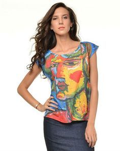 Graphic Print T-Shirt in multicolor by Sasha Gregoryan $125 - $43 @ Modnique. 88% Polyester, 12% Spandex. Scoop neck. Graphic print to the front. Solid color back. Made In Europe.