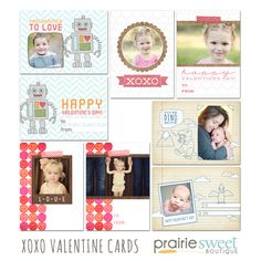 Prairie Sweet Boutique | Photoshop Templates for Photographers / XOXO Valentine Card Collection (8 PSD FILES: 4 FRONT and BACK CARD TEMPLATES)