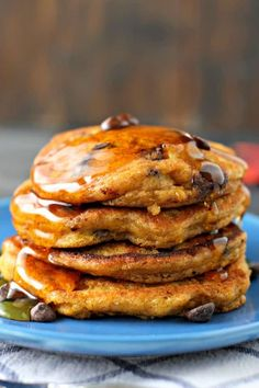These delicious vegan chocolate chip pumpkin pancakes are so light and fluffy! No one will guess that these decadent pancakes are free of eggs and dairy!