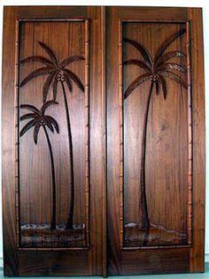 Carved Palm Tree Doors Clark Hall Doors Charlotte, NC