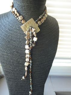 STUNNING VINTAGE ANTIQUE MOTHER OF PEARL CRYSTAL MULTI STRAND NECKLACE PENDANT #Pendant Multi Strand Necklace, Beaded Necklace, Pendant Necklace, Vintage Antiques, Vintage Jewelry, Pearls, Crystals, Detail, Ebay