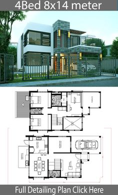 Home Design Plan with 4 Bedrooms - Home Design with Plansearch Two Story House Plans, House Layout Plans, Duplex House Plans, Dream House Plans, Small House Plans, House Layouts, House Floor Plans, 2 Storey House Design, Simple House Design