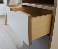 Desk Drawer Detail, Laminate and Birch Plywood Plywood Desk, Living Room Storage, Room Shelves, Cabinet Making, Office Cabinets, Work Desk, Desk With Drawers, Carpentry, Churchill