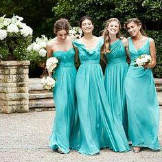 Vestidos de damas azul turquesa
