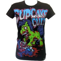 Cupcake Cult My Zombie Pony T-Shirt | Gothic Clothing | Emo clothing |... ($28) ❤ liked on Polyvore