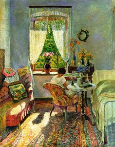 Sergei Vinogradov - At the Dacha in Summer, date unknown but in Impressionist era