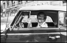 * YSL in his own car by Andre Peltier - 1977 Christian Dior, Ysl Saint Laurent, Exposition Photo, Great Names, Rive Gauche, Portraits, French Fashion Designers, Expositions, Paris