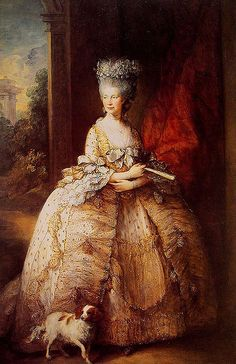 Queen Charlotte, wife to King George III. They had 15 children together. George III ruled when the U.S. won its independence from England.