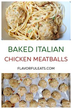 Homemade Baked Italian Chicken Meatballs are the perfect addition to your favorite pasta or as the main part of a low-carb meal! Made with ground chicken, garlic, herbs, cheese, and some pantry staples, these baked meatballs are a healthier alternative that don't sacrifice any flavor! Healthy Eating Recipes, Real Food Recipes, Great Recipes, Favorite Recipes, Delicious Recipes, Entree Recipes, Dinner Recipes, Chicken Meatballs, Italian Chicken