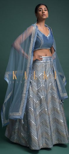 Buy Online from the link below. We ship worldwide (Free Shipping over US$100)  Click Anywhere to Tag Carolina Blue Lehenga Choli In Silk With Gotta Lace And Foil Applique In Chevron Pattern Online - Kalki Fashion Carolina blue lehenga choli in silk with gotta lace and foil applique in chevron pattern.Matched with a sleeveless choli in silk with mirror abla embroidery.
