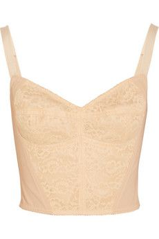Dolce & Gabbana Boned lace and stretch-mesh bustier | NET-A-PORTER