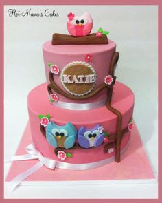 Owl Themed baby shower in pink! - CakesDecor