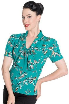 Hell Bunny Birdy 40s 50s Pin Up Landgirl WW2 Retro Vintage Style Blouse (UK  18 (3XL) 190f0638c43