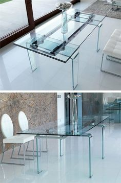 Extending rectangular dining #crystal #table GHOST by ITALY DREAM DESIGN