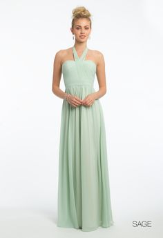 This unique look makes for a flawless bridesmaid dress! With its tie neckline, ruched fitted bodice, A-line chiffon skirt, and center back zipper, this evening gown is wedding party-ready. Pair with nude heels, a rhinestone ring, and a gold clutch. #camillelavie
