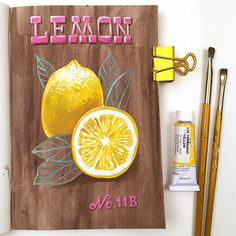 Lemon Journal Page by Angela Staehling in Strathmore 500 Series Mixed Media Art Journal