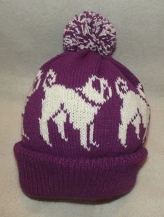 PUG CREAM dog NEW Knitted MAUVE Adult size beanie pompom bobble HAT