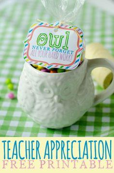 'Owl Never Forget' Teacher Appreciation Week FREE Printable by Love The Day #teacherappreciation #printable #diy