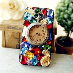 Iphone44S luxury mobile phone cover Apple-specific fashion hand made crystal retro pocket watch case