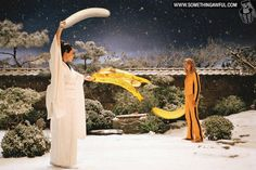 Replacing Kill Bill swords with bananas: hot or not?  From http://www.somethingawful.com/d/photoshop-phriday/replace-swords-bananas.php