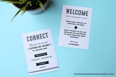 Free Guest Room Printables! These retro-style designed set includes snack bag toppers, water bottle labels, a welcome sign and a really awesome wi-fi information sign. The bag toppers and water bottle labels are compatible with Avery Products #22801 and #22845 for easy printing. // Designs from Elegance and Enchantment.