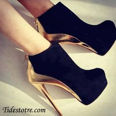 Black booties and gold heels <3