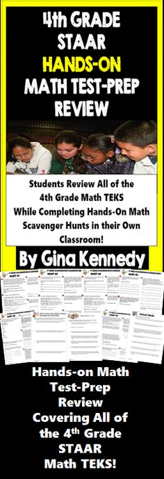 A 4th grade STAAR math test-prep review, a hands-on math test-prep strategy covering all of the 4th Grade STAAR math TEKS! Reviewing math skills doesn't have to be boring. With these fun engaging classroom scavenger math hunts, your students will use your classroom as their hands-on math manipulative. From measuring the area and perimeter of basic school supplies to determining fractions from simple items as their classroom trash can, your students will love these fun rigorous math...$