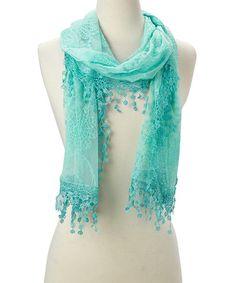 Love this Green Mesh Crochet Tassel Scarf on #zulily! #zulilyfinds