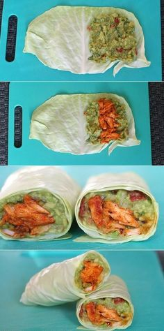 Casserole wraps with salmon and avocado # slender food recipes Really delicious and healthy .- Spidskålswraps med laks og avocado Virkelig lækre og sund… Casserole wraps with salmon and avocado - Clean Eating Snacks, Healthy Snacks, Healthy Eating, Healthy Recipes, Healthy Wraps, Helathy Food, Comidas Fitness, Veggie Recipes, Food Inspiration