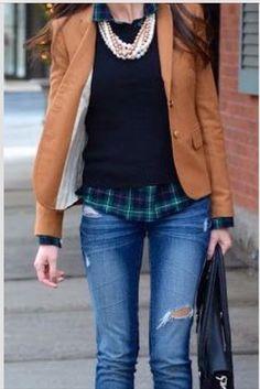 My brown blazer, neutral sweater, Eric's button-down, jeans