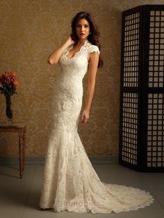 Allure Trumpet / Mermaid V-neck Floor-length Lace White Wedding Dresses 2013