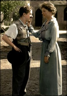 "Two Greats of the 20th CenturyA wonderful colorized photo - Helen Keller meets Charlie Chaplin, 1918. ""A small piece in Photoplay Magazine, June 1919, how he described ""A Dog's Life"" to..."
