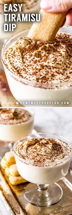 Tiramisu Dip! Love tiramisu but don't have the time! This dip is the solution! It's a decadent dip that tastes just like a tiramisu dessert but made in less than 10 minutes. Have all the taste without all the trouble! | HomemadeHooplah.com